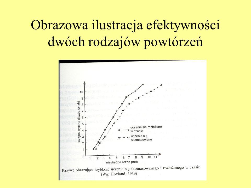 Obrazowa ilustracja efektywności dwóch rodzajów powtórzeń