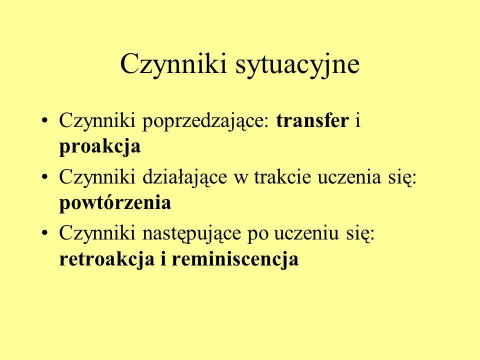 Czynniki sytuacyjne Czynniki poprzedzające: transfer i proakcja