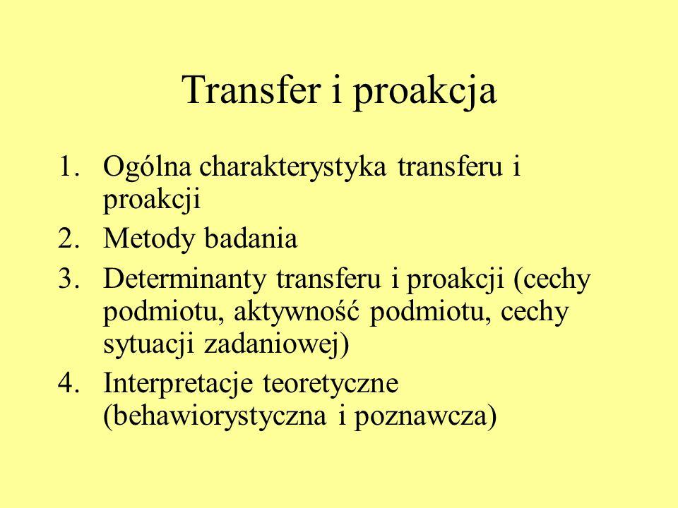Transfer i proakcja Ogólna charakterystyka transferu i proakcji