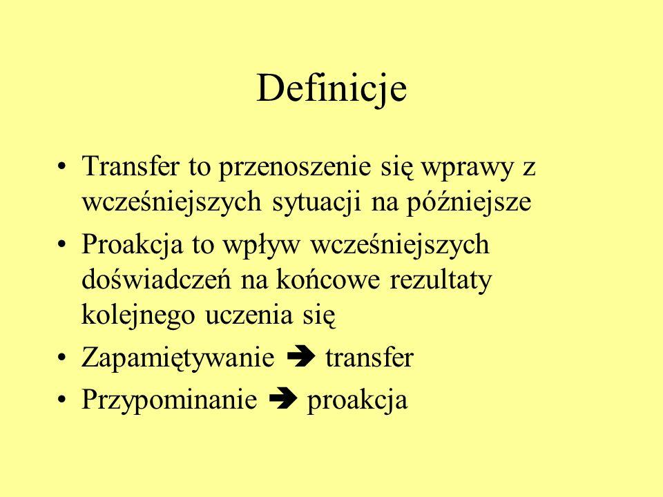 Definicje Transfer to przenoszenie się wprawy z wcześniejszych sytuacji na późniejsze.