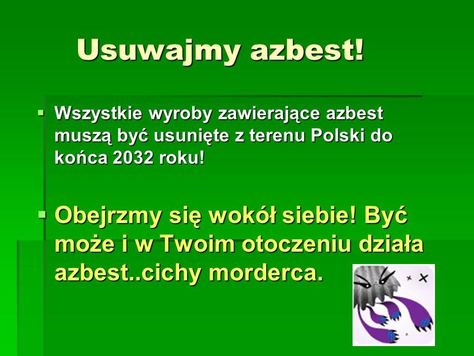 Usuwajmy azbest!Wszystkie wyroby zawierające azbest muszą być usunięte z terenu Polski do końca 2032 roku!