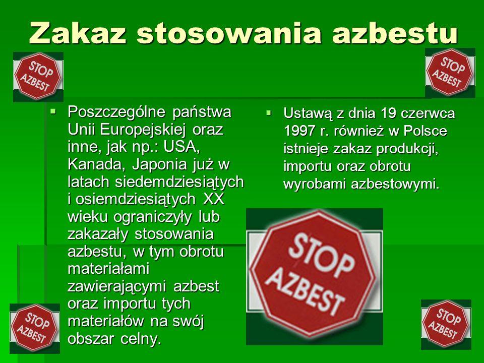 Zakaz stosowania azbestu