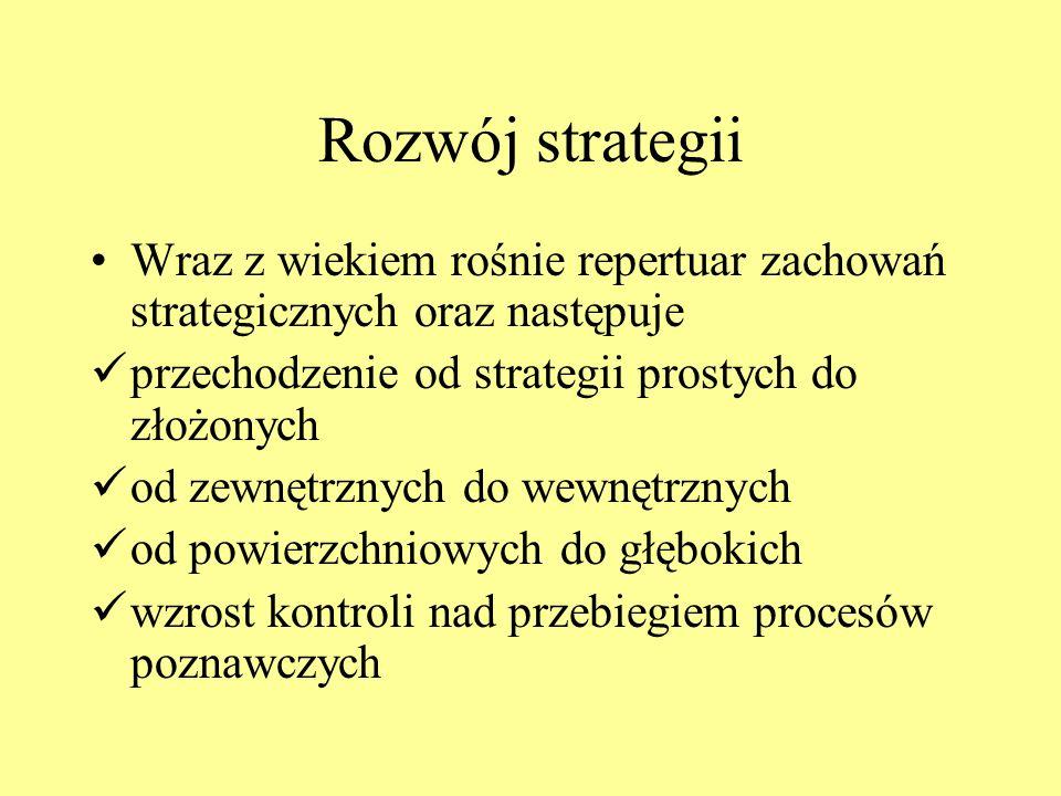 Rozwój strategii Wraz z wiekiem rośnie repertuar zachowań strategicznych oraz następuje. przechodzenie od strategii prostych do złożonych.