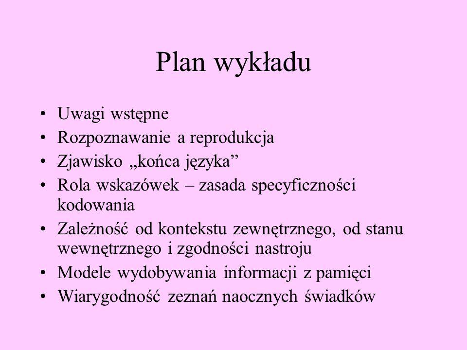 Plan wykładu Uwagi wstępne Rozpoznawanie a reprodukcja