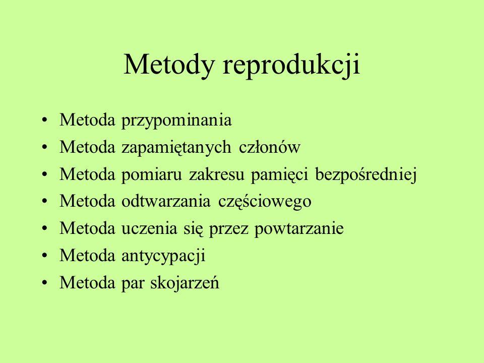 Metody reprodukcji Metoda przypominania Metoda zapamiętanych członów