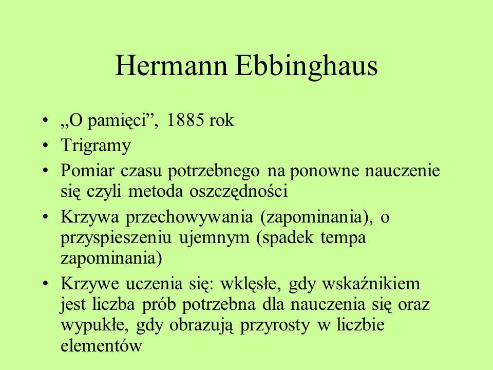 "Hermann Ebbinghaus ""O pamięci , 1885 rok Trigramy"