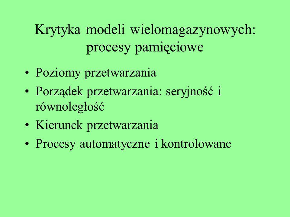 Krytyka modeli wielomagazynowych: procesy pamięciowe