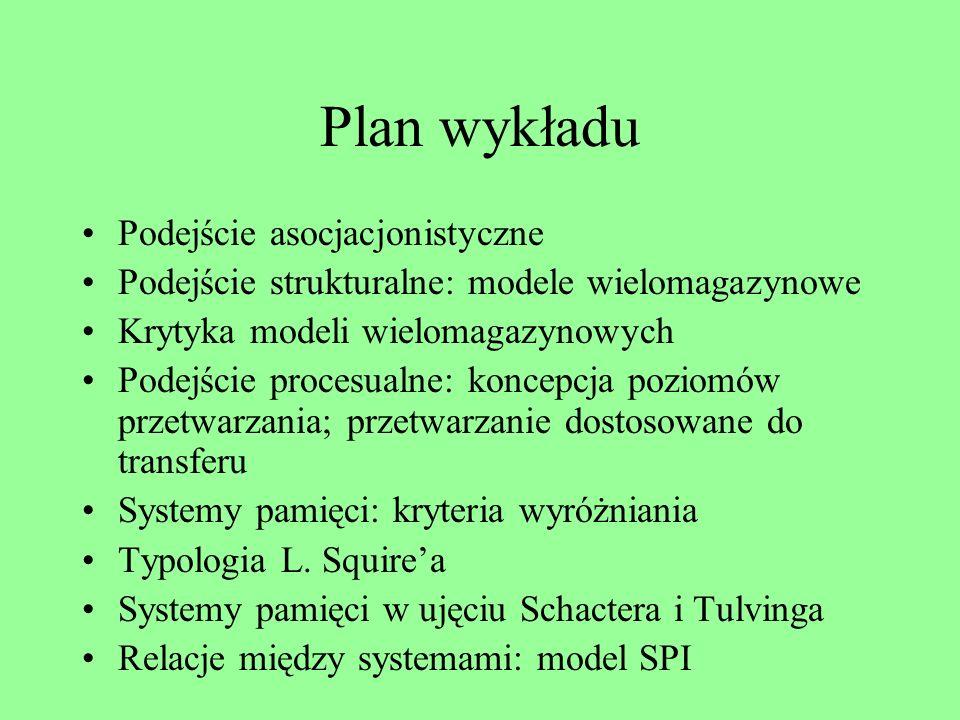 Plan wykładu Podejście asocjacjonistyczne