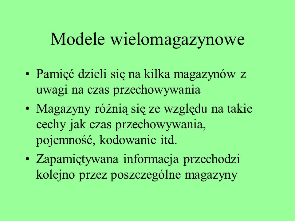 Modele wielomagazynowe