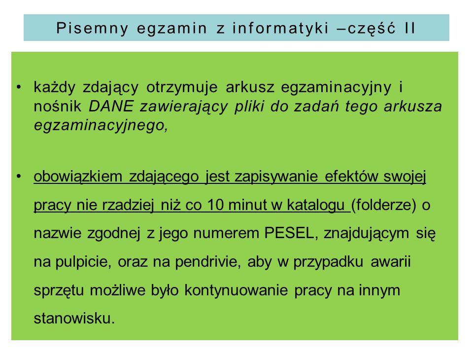 Pisemny egzamin z informatyki –część II