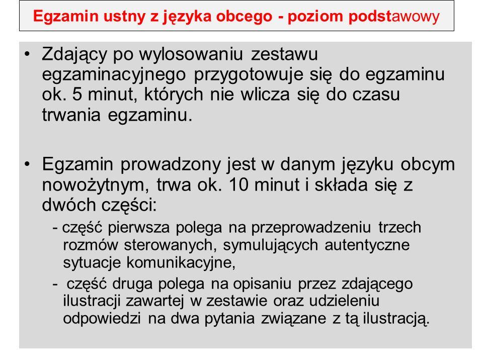 Egzamin ustny z języka obcego - poziom podstawowy