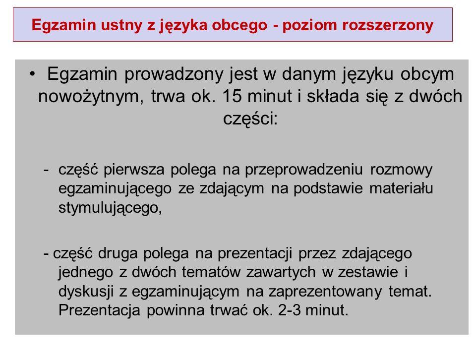 Egzamin ustny z języka obcego - poziom rozszerzony