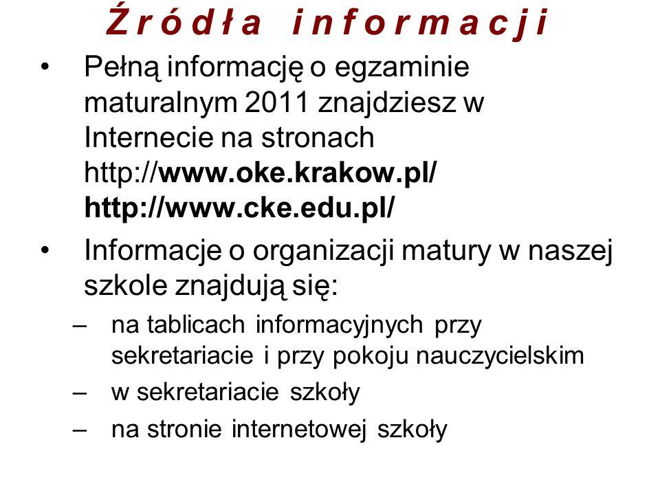 Źródła informacjiPełną informację o egzaminie maturalnym 2011 znajdziesz w Internecie na stronach http://www.oke.krakow.pl/ http://www.cke.edu.pl/