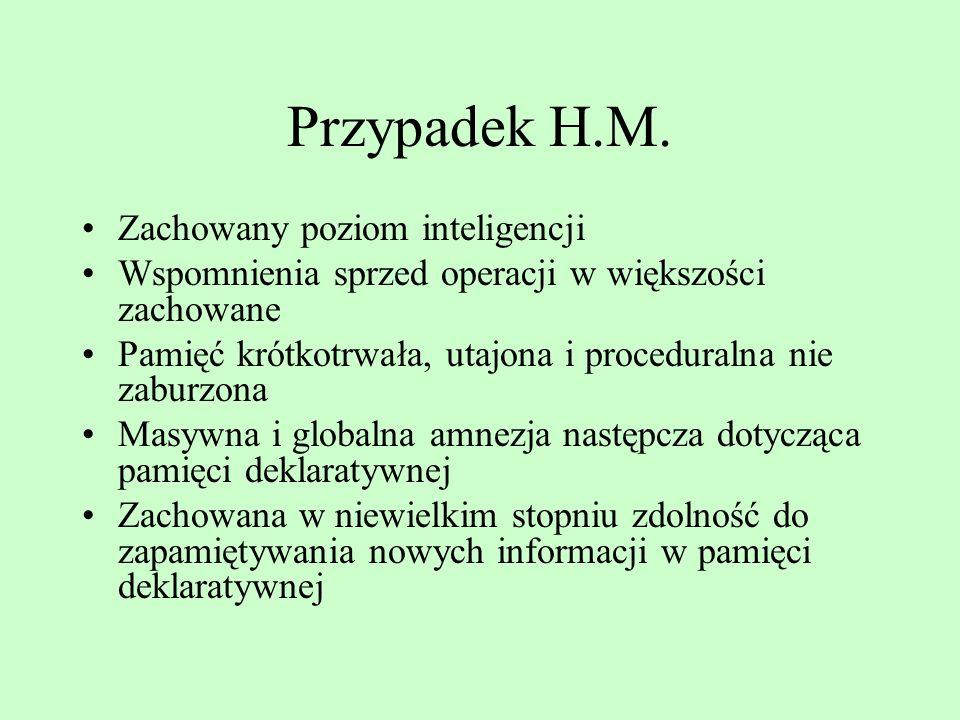 Przypadek H.M. Zachowany poziom inteligencji