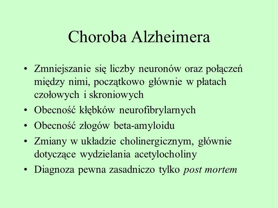 Choroba Alzheimera Zmniejszanie się liczby neuronów oraz połączeń między nimi, początkowo głównie w płatach czołowych i skroniowych.
