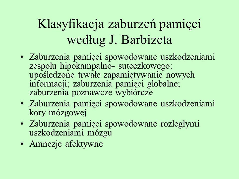 Klasyfikacja zaburzeń pamięci według J. Barbizeta