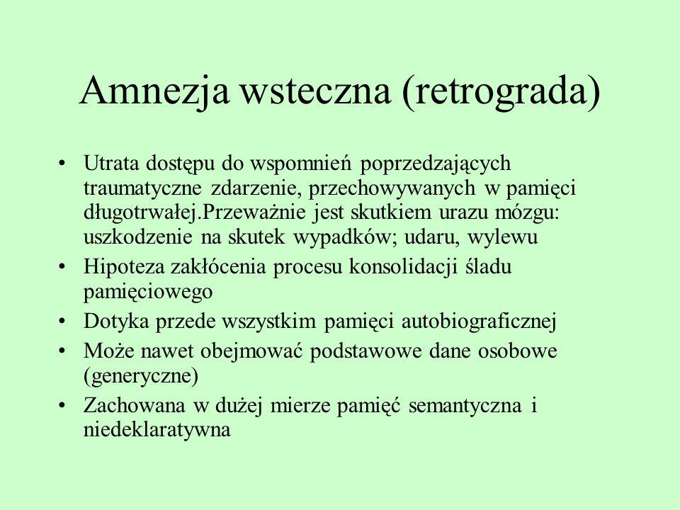 Amnezja wsteczna (retrograda)