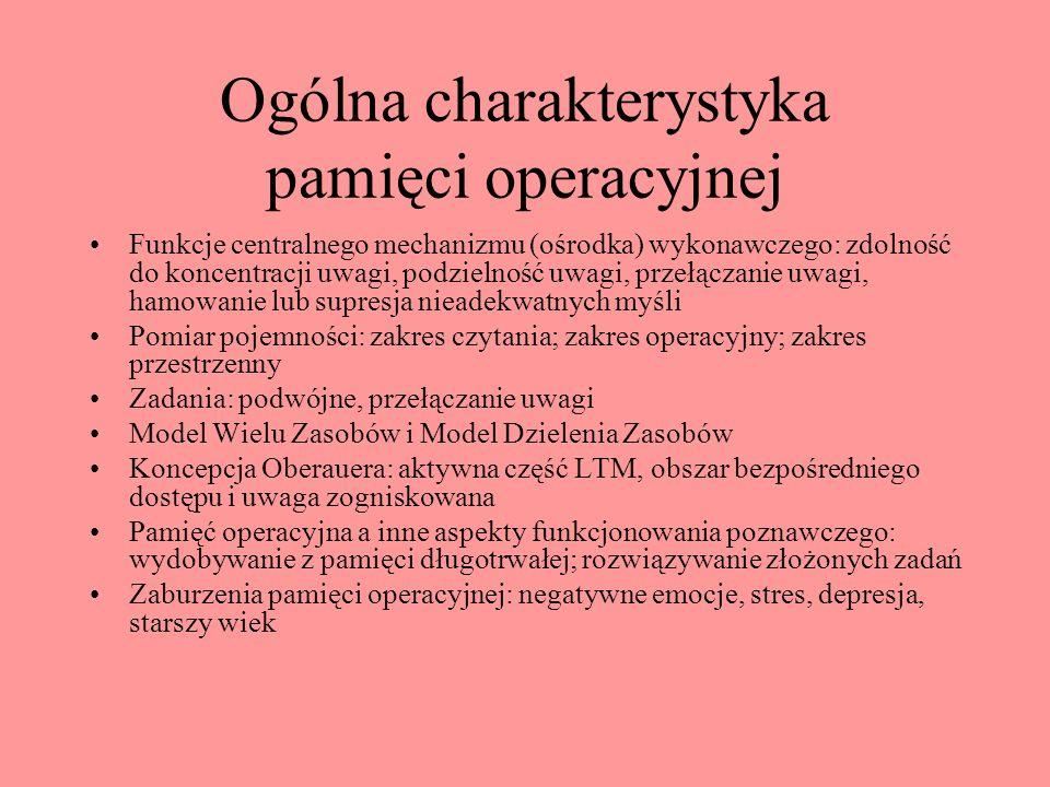 Ogólna charakterystyka pamięci operacyjnej