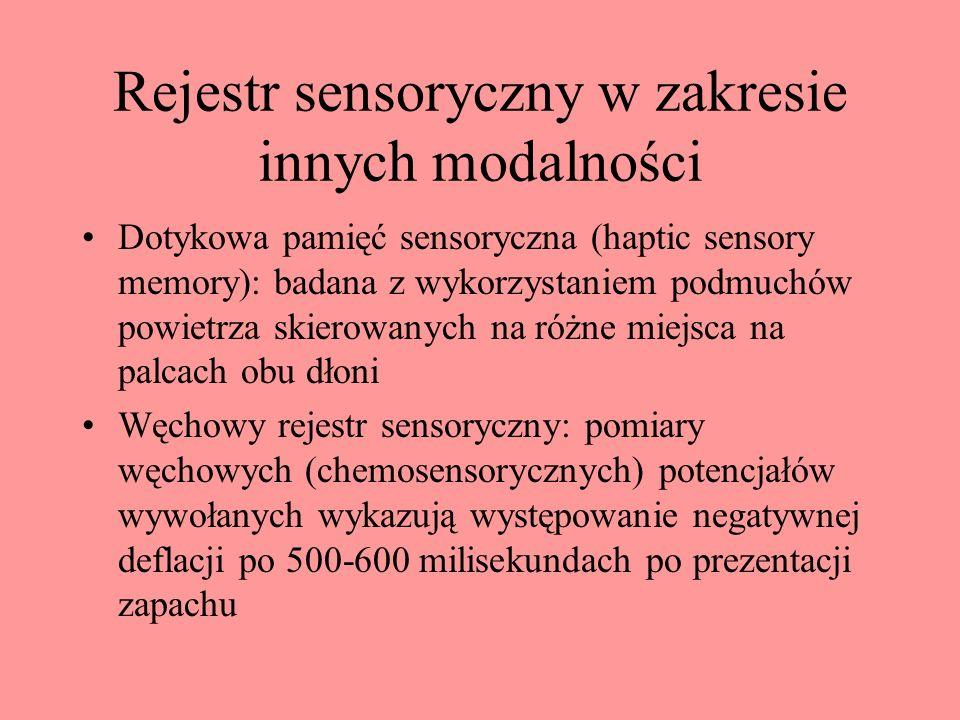 Rejestr sensoryczny w zakresie innych modalności