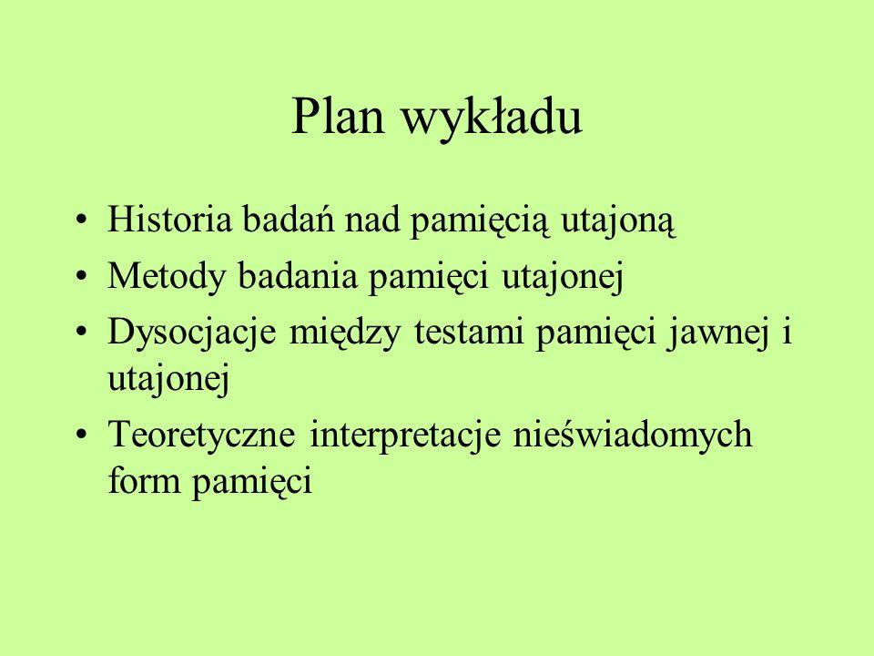 Plan wykładu Historia badań nad pamięcią utajoną