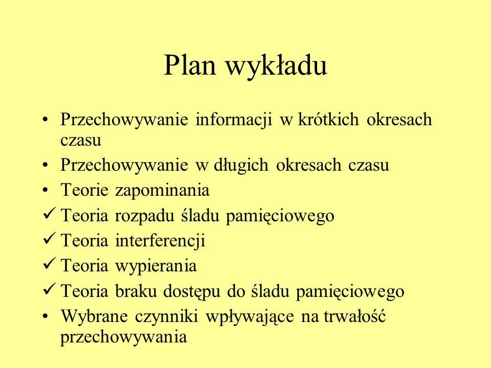 Plan wykładu Przechowywanie informacji w krótkich okresach czasu