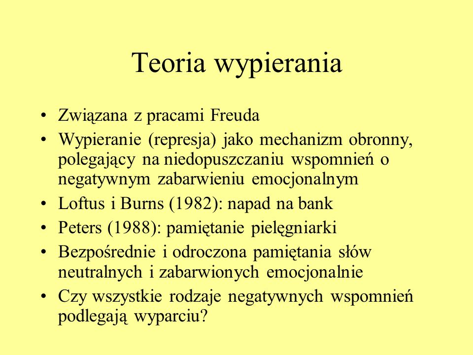Teoria wypierania Związana z pracami Freuda
