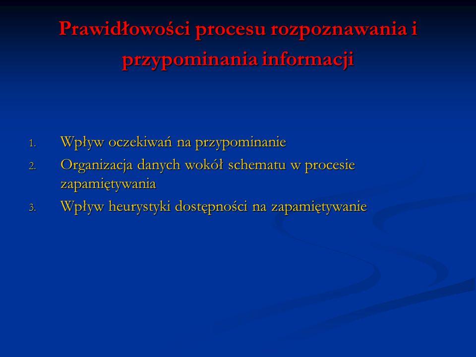 Prawidłowości procesu rozpoznawania i przypominania informacji