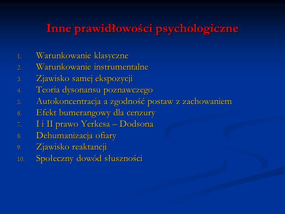 Inne prawidłowości psychologiczne