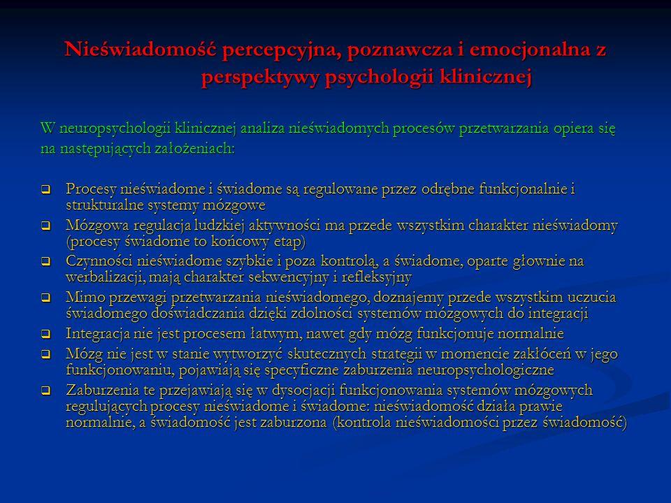 Nieświadomość percepcyjna, poznawcza i emocjonalna z perspektywy psychologii klinicznej