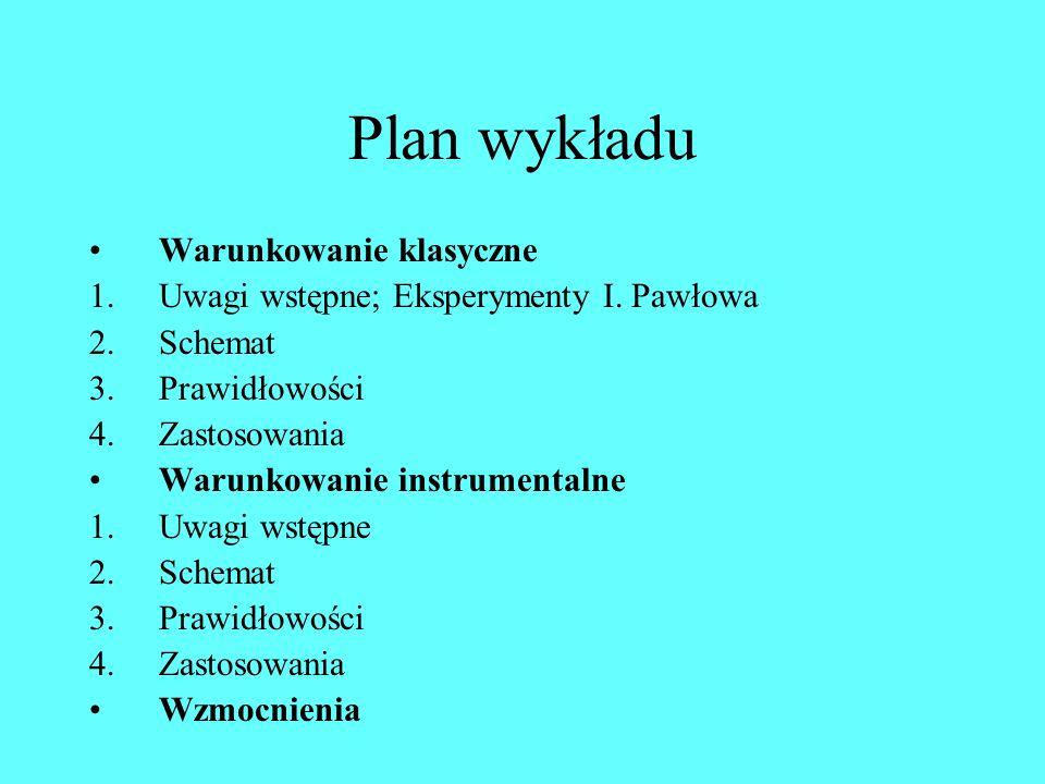 Plan wykładu Warunkowanie klasyczne