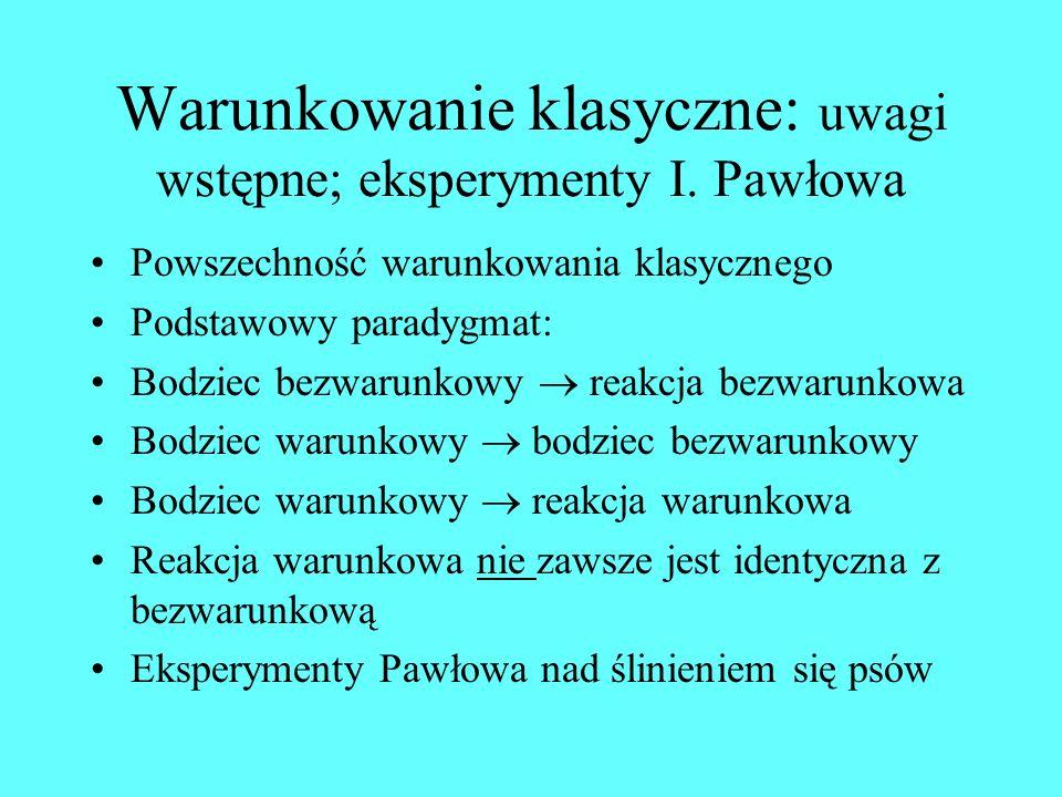 Warunkowanie klasyczne: uwagi wstępne; eksperymenty I. Pawłowa