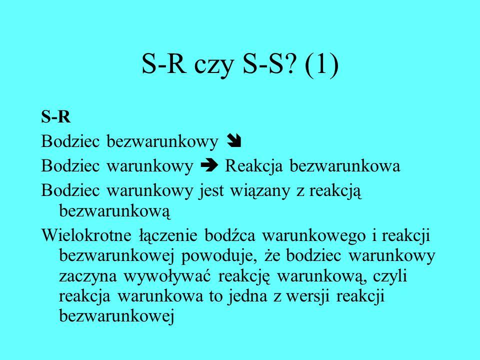 S-R czy S-S (1) S-R Bodziec bezwarunkowy 