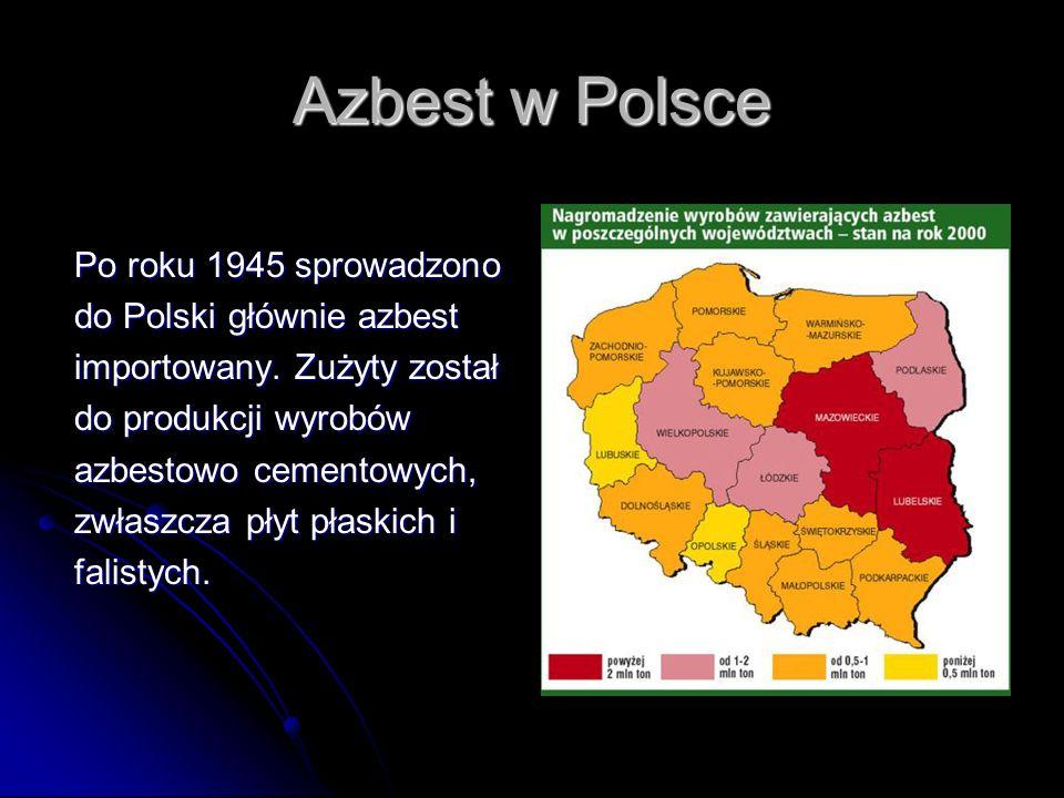 Azbest w Polsce Po roku 1945 sprowadzono do Polski głównie azbest