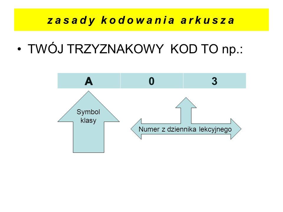zasady kodowania arkusza