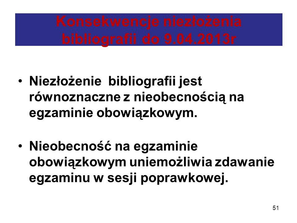 Konsekwencje niezłożenia bibliografii do 9.04.2013r