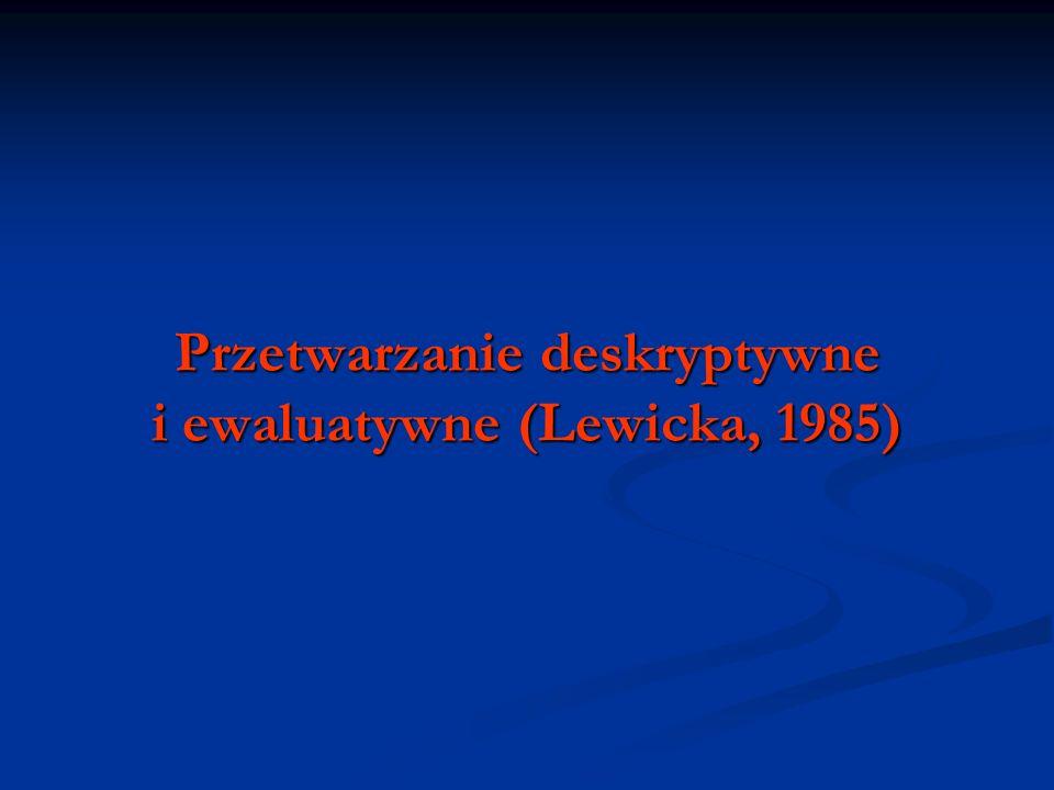 Przetwarzanie deskryptywne i ewaluatywne (Lewicka, 1985)