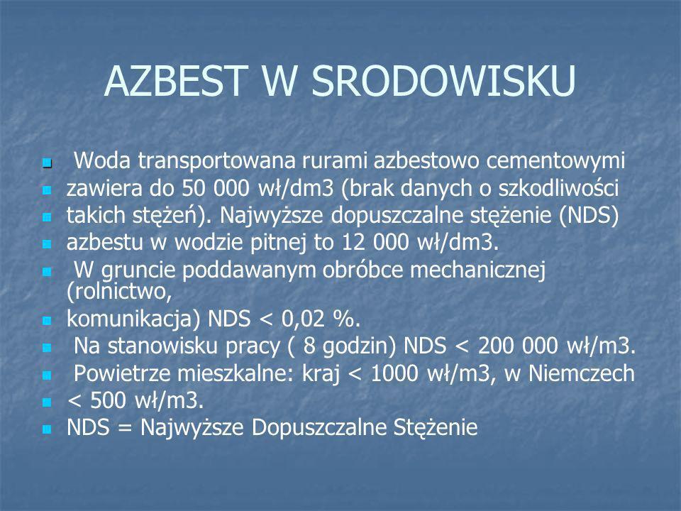 AZBEST W SRODOWISKU Woda transportowana rurami azbestowo cementowymi