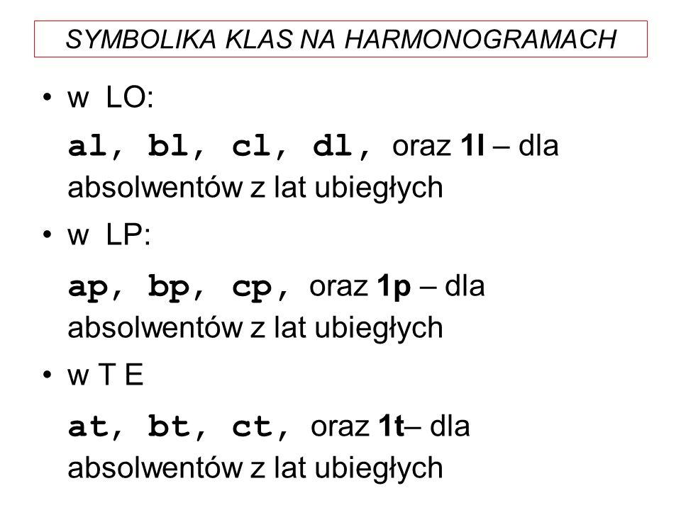 SYMBOLIKA KLAS NA HARMONOGRAMACH