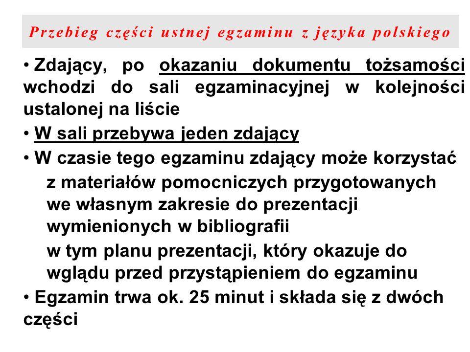 Przebieg części ustnej egzaminu z języka polskiego