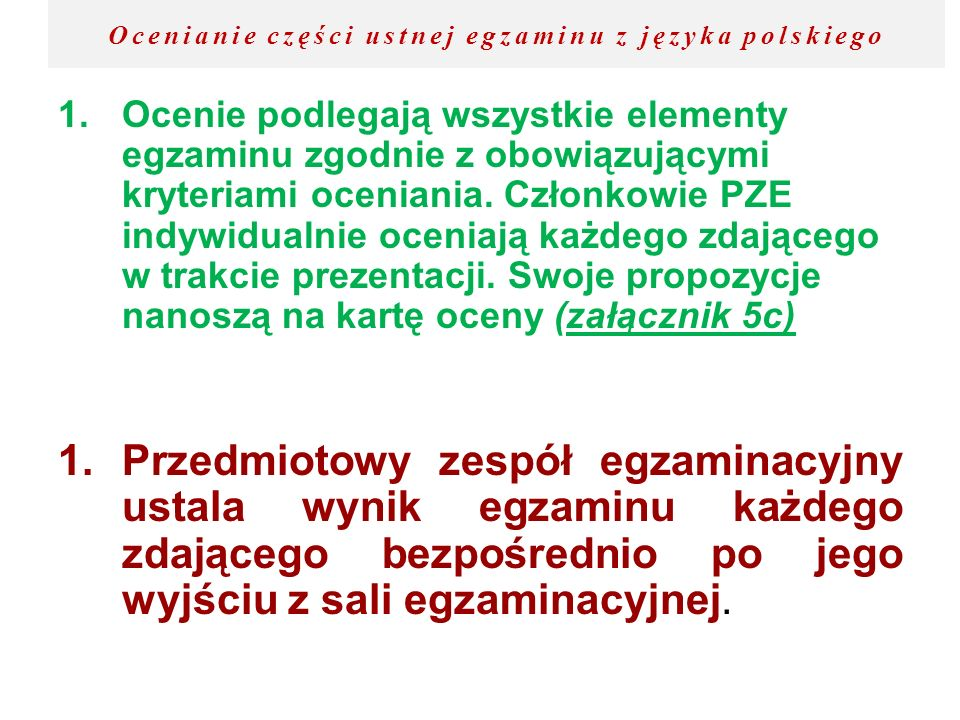 Ocenianie części ustnej egzaminu z języka polskiego