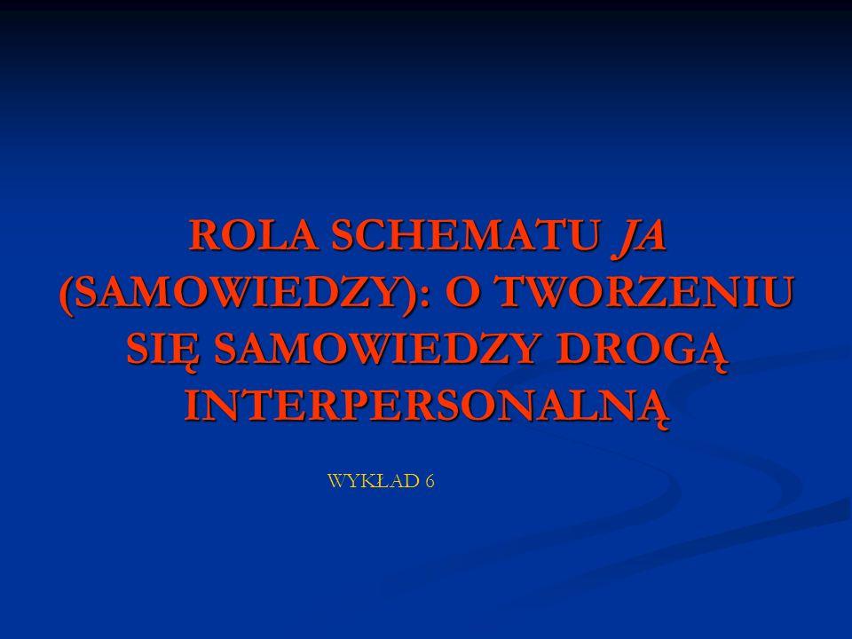 ROLA SCHEMATU JA (SAMOWIEDZY): O TWORZENIU SIĘ SAMOWIEDZY DROGĄ INTERPERSONALNĄ