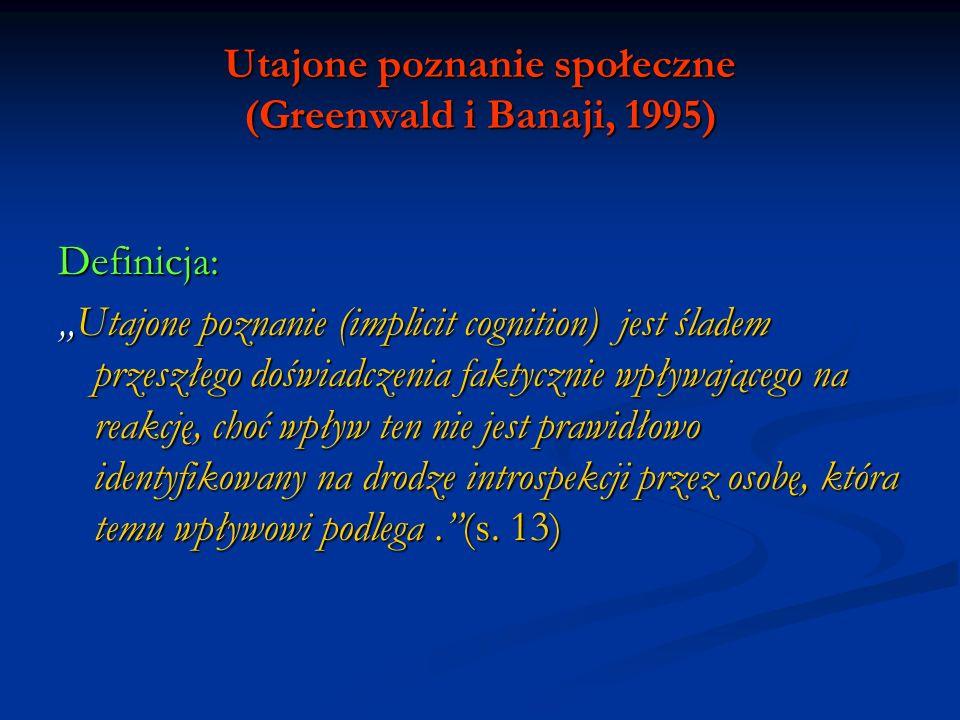 Utajone poznanie społeczne (Greenwald i Banaji, 1995)