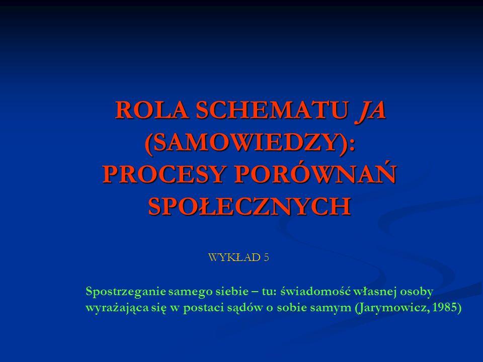 ROLA SCHEMATU JA (SAMOWIEDZY): PROCESY PORÓWNAŃ SPOŁECZNYCH