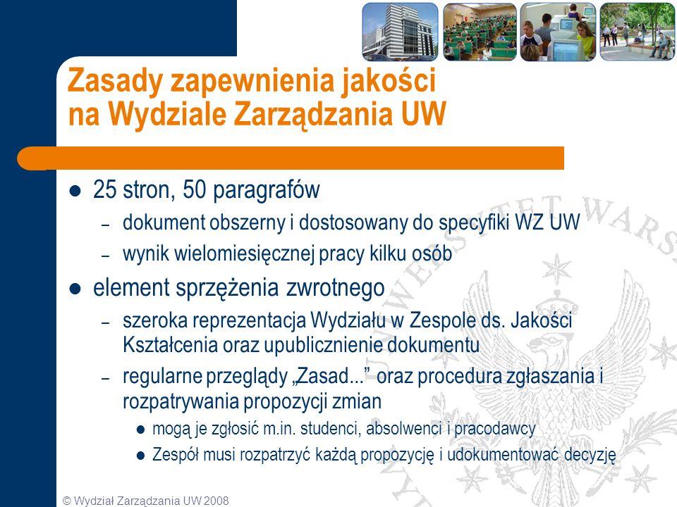 Zasady zapewnienia jakości na Wydziale Zarządzania UW