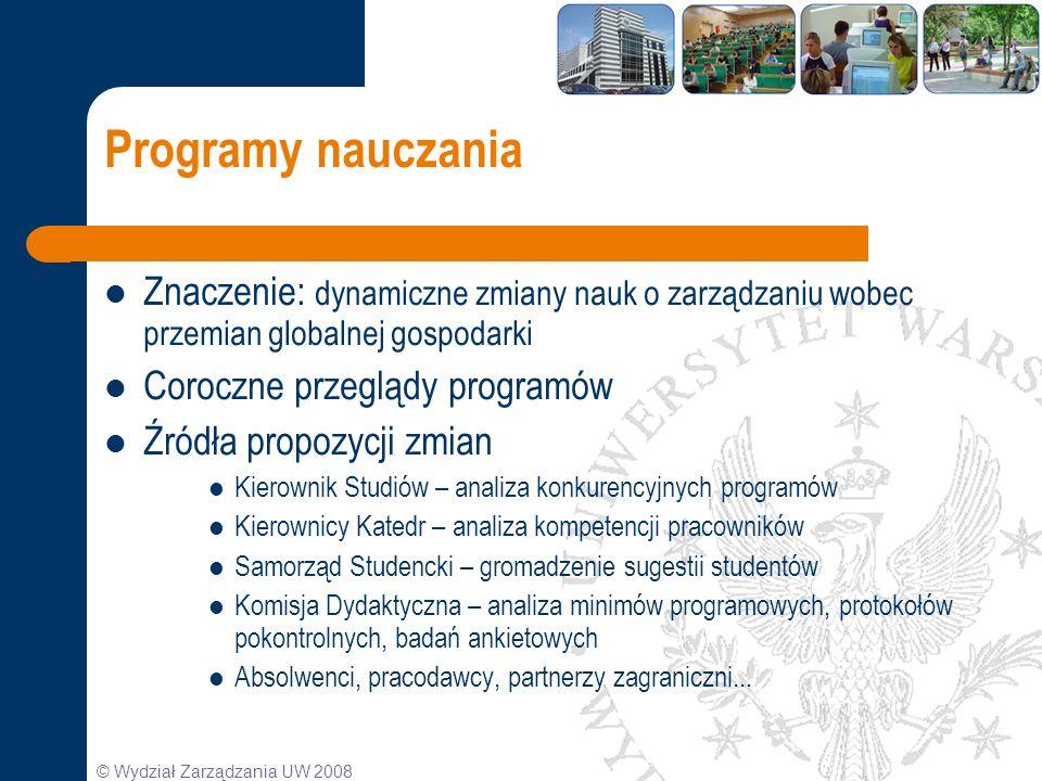Programy nauczania Znaczenie: dynamiczne zmiany nauk o zarządzaniu wobec przemian globalnej gospodarki.