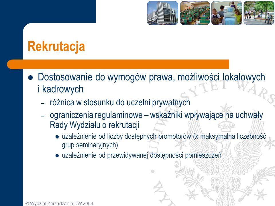Rekrutacja Dostosowanie do wymogów prawa, możliwości lokalowych i kadrowych. różnica w stosunku do uczelni prywatnych.