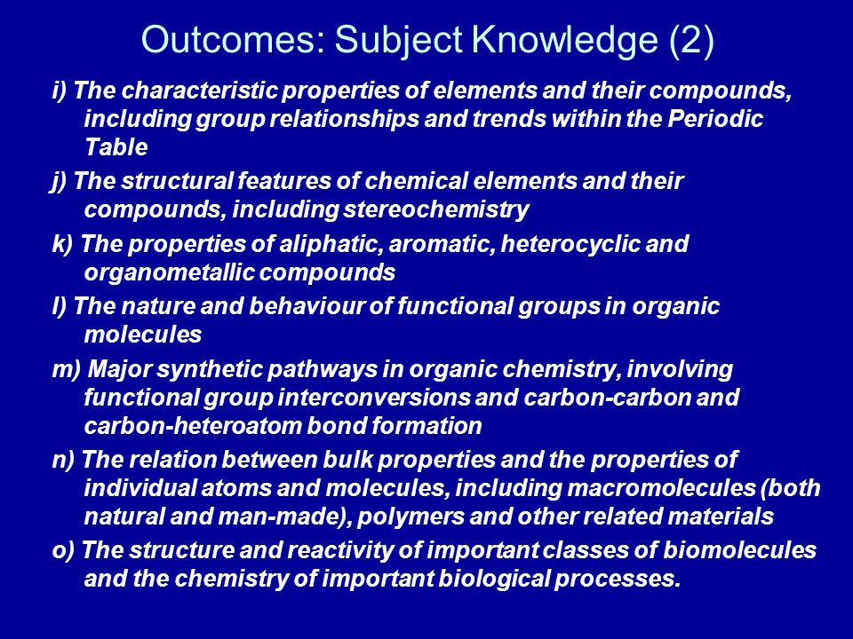 Outcomes: Subject Knowledge (2)