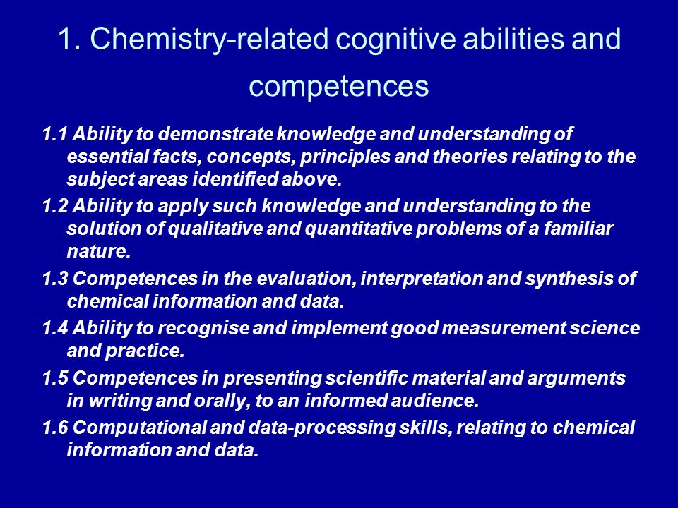 1. Chemistry-related cognitive abilities and competences