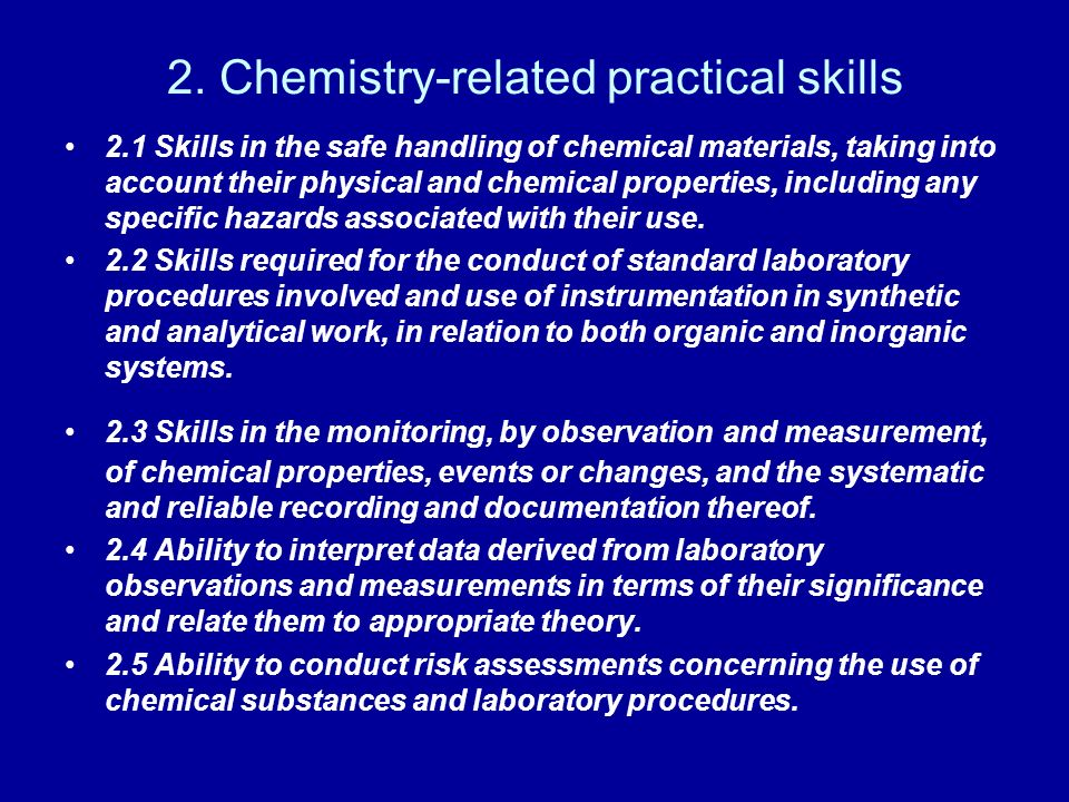 2. Chemistry-related practical skills