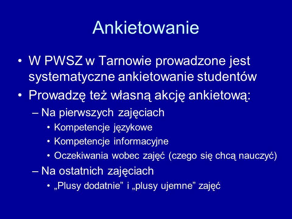Ankietowanie W PWSZ w Tarnowie prowadzone jest systematyczne ankietowanie studentów. Prowadzę też własną akcję ankietową: